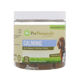 Pet Naturals of Vermont, Calming, For Dogs and Cats, 70 Chews, 3.70 oz (105 g)