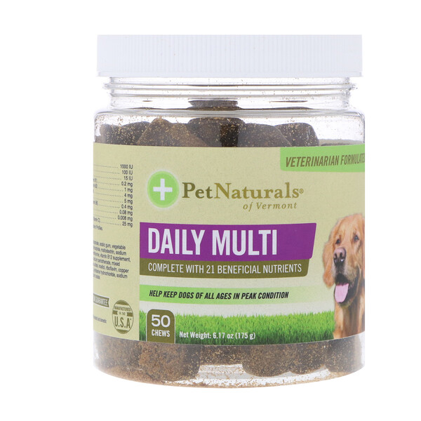 Pet Naturals of Vermont, Multi diario, para perros, 50 masticables, 6.17 oz (175 g)
