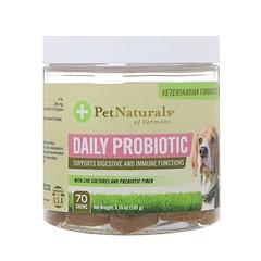 Pet Naturals of Vermont, Ежедневные пробиотики, Для собак, 70 жевательных таблеток, 3,70 унц.(105 г)