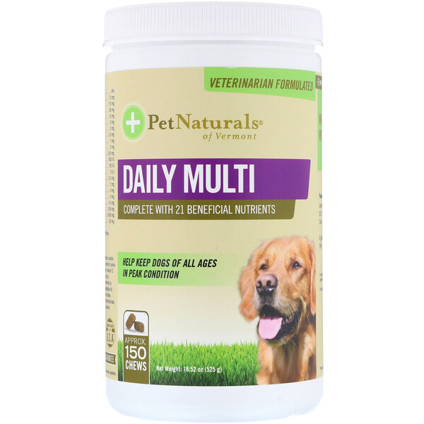Pet Naturals of Vermont, Multivitamines quotidiennes, pour chiens, 150 vitamines à mâcher