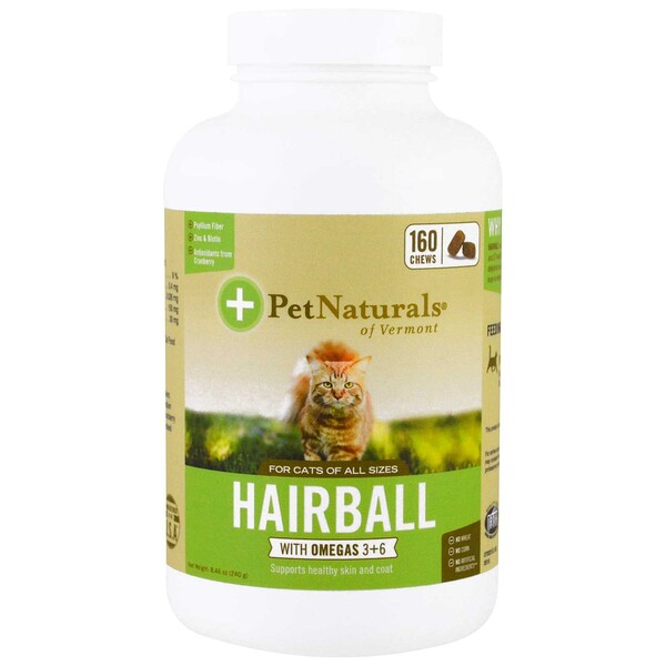 Pet Naturals of Vermont, Bola de pelos para gatos, 160 masticables