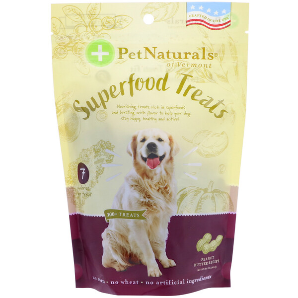 Pet Naturals of Vermont, Superfood Treats for Dogs, Peanut Butter Recipe, 100+ Treats, 8.5 oz (240 g)