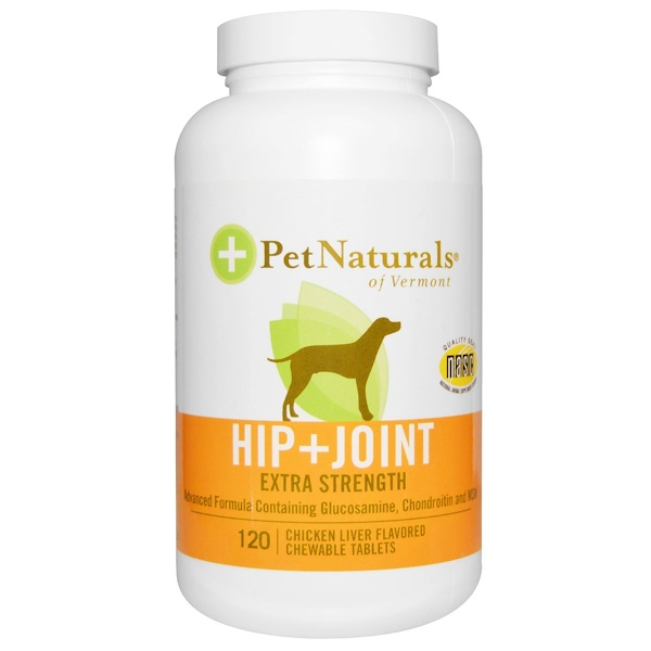 Pet Naturals of Vermont, Hip + Joint, Extra Strength, For Dogs, Chicken Liver Flavored, 120 Chewable Tablets (Discontinued Item)