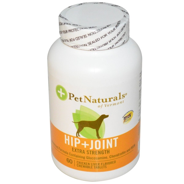 Pet Naturals of Vermont, Hip + Joint, Extra Strength for Dogs, 60 Chicken Liver Flavored Chewable Tablets (Discontinued Item)