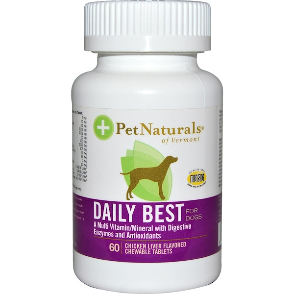Pet Naturals of Vermont, Daily Best, Multi Vitamin/Mineral, For Dogs, Chicken Liver Flavored, 60 Chewable Tablets (Discontinued Item)