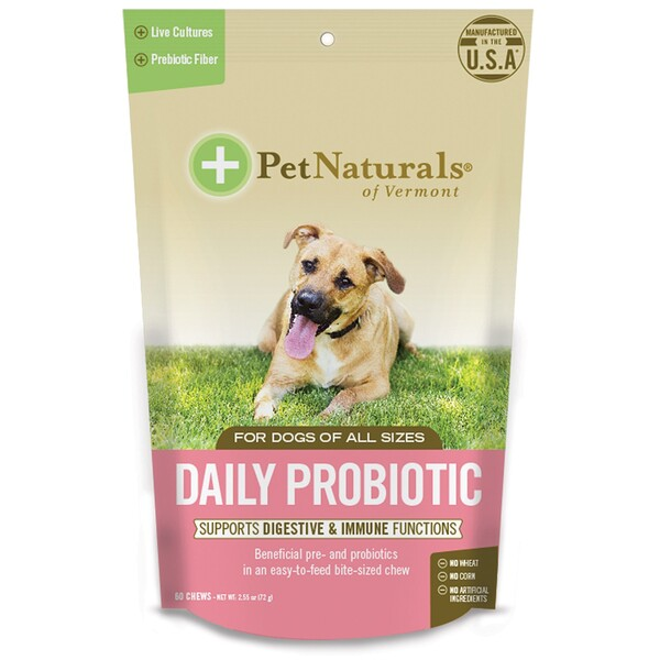 Pet Naturals of Vermont, Daily Probiotic, For Dogs of All Sizes, 60 Chews, 2.54 oz (72 g)
