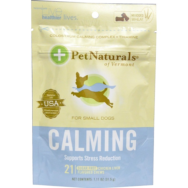 Pet Naturals of Vermont, Calming, For Small Dogs, Chicken Liver Flavor, 21 Bone-Shaped Chews, 1.11 oz (31.5 g) (Discontinued Item)