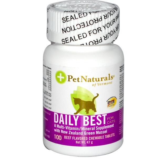 Pet Naturals of Vermont, Daily Best, мульти-витаминная/минеральная добавка для кошек, с запахом говядины, 100 жевательных таблеток (Discontinued Item)