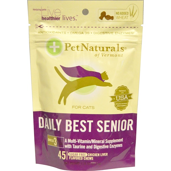 Pet Naturals of Vermont, Daily Best Senior, Fun-Shaped Chews, Chicken Liver Flavored, 45 Chews, 2.38 oz (67.5 g) (Discontinued Item)