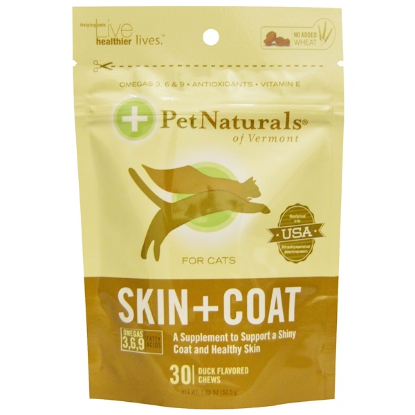 Pet Naturals of Vermont, Skin + Coat for Cats, 30 Duck Flavored Chews, 1.85 oz (52.5 g) (Discontinued Item)