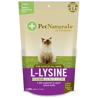 Pet Naturals of Vermont, L-Lisina para gatos, hígado de pollo, 60 masticables, 3,74 oz (90 g)