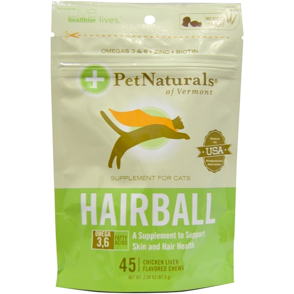 Pet Naturals of Vermont, Hairball for Cats, 45 Chicken Liver Flavored Chews, 2.38 oz (67.5 g) (Discontinued Item)