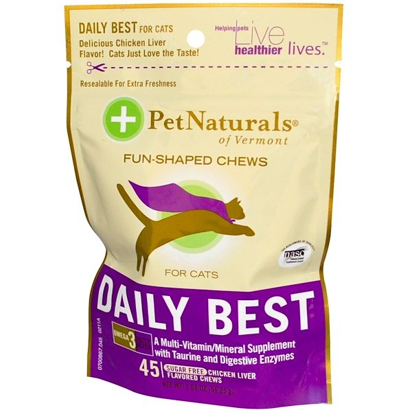Pet Naturals of Vermont, Daily Best for Cats, Sugar-Free, Chicken Liver Flavored, 45 Chews, 1.98 oz (56.25 g) (Discontinued Item)