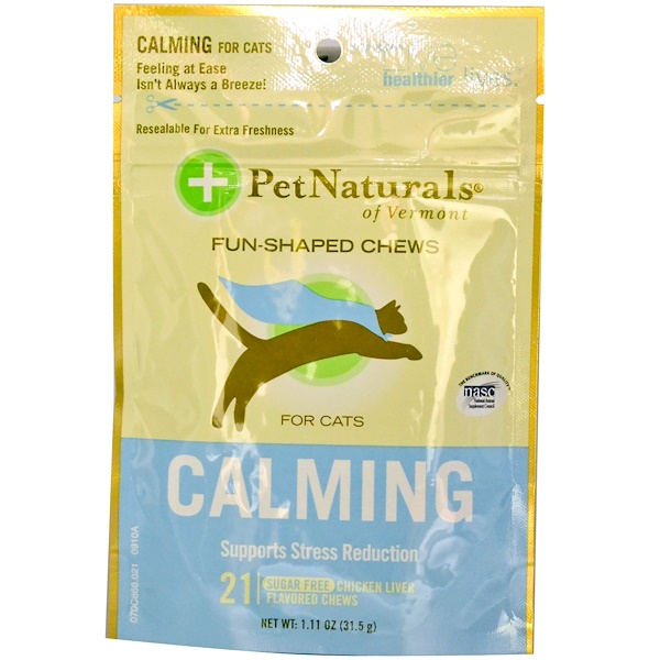 Pet Naturals of Vermont, Calming for Cats , Sugar Free, Chicken Liver Flavored, 21 Soft Chews (Discontinued Item)