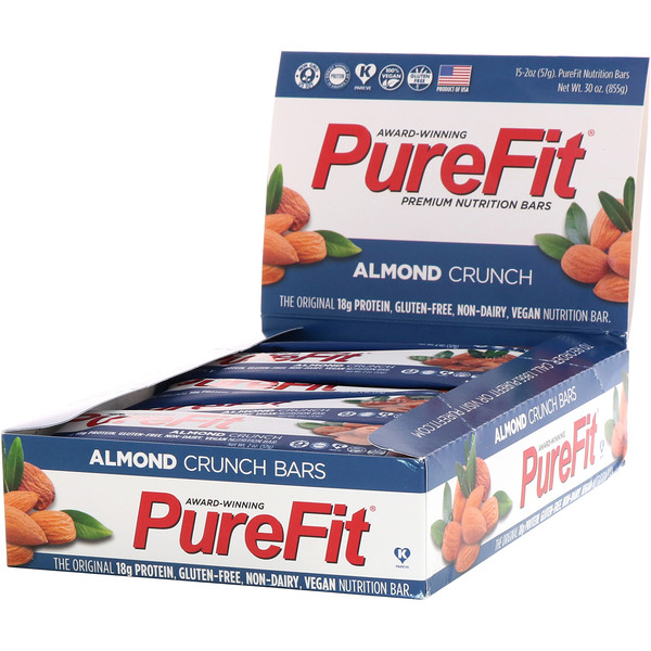 PureFit Bars, Premium Nutrition Bars, Almond Crunch, 15 Bars, 2 oz (57 g) Each