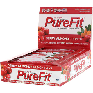 PureFit Bars, Premium Nutrition Bars, Berry Almond Crunch, 15 Bars, 2 oz (57 g) Each