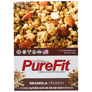 Pure Fit Bars, Premium Nutrition Bars, Granola Crunch, 15 Bars, 2 oz (57 g) Each