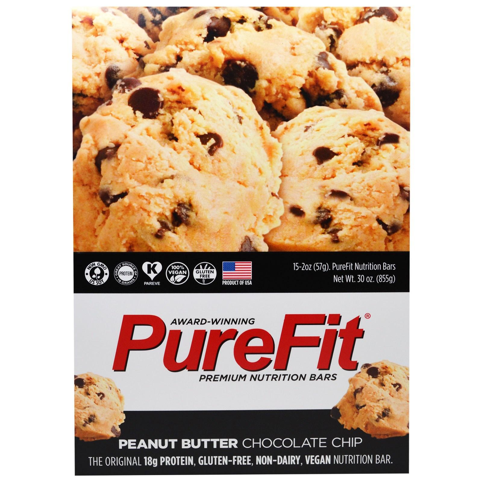 Pure Fit Bars, Premium Nutrition Bars, Арахисовое Масло и Шоколадные чипы, 15 штук по 2 унции (57 г) каждая