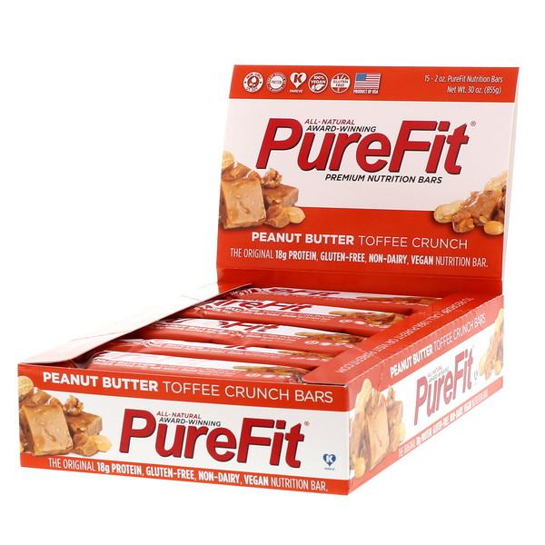 PureFit Bars, Premium Nutrition Bars, Peanut Butter Toffee Crunch, 15 Bars, 2 oz (57 g) Each (Discontinued Item)