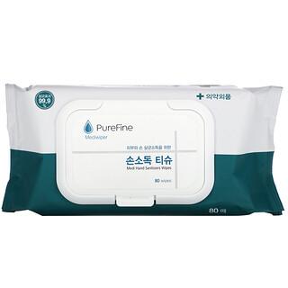 PureFine, Mediwiper, Medi Hand Sanitizer Wipes, 80 Wipes