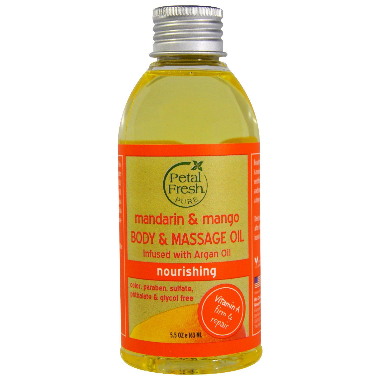 Petal Fresh, Pure, массажное масло, питательное, мандарин и манго, 5,5 унций (163 мл)