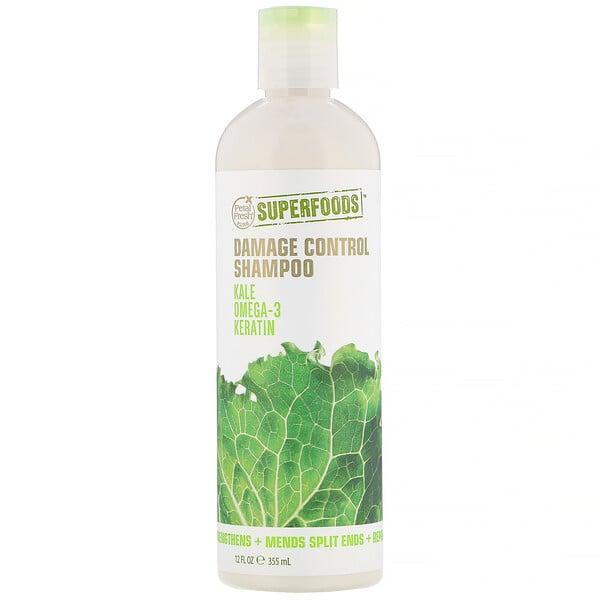 Pure, SuperFoods, Damage Control Shampoo, Kale, Omega 3 & Keratin, 12 fl oz (355 ml)