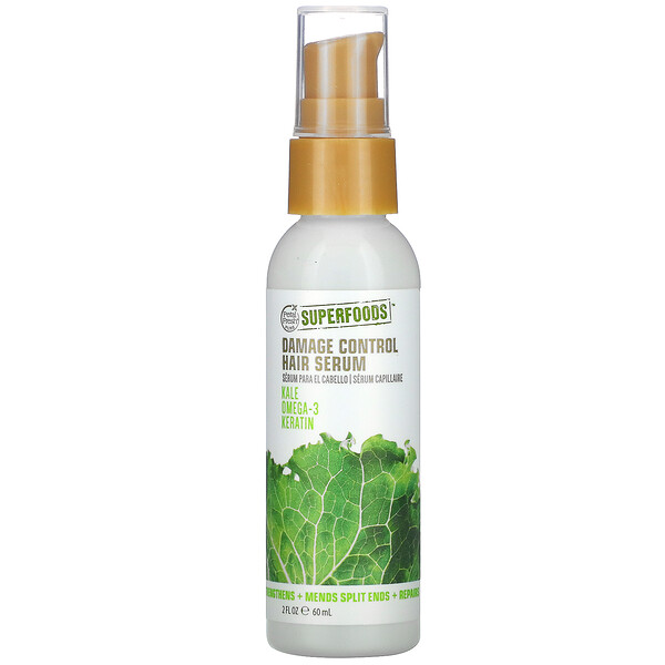 SuperFoods, Damage Control Hair Serum, Kale, Omega 3 & Keratin, 2 fl oz (60 ml)