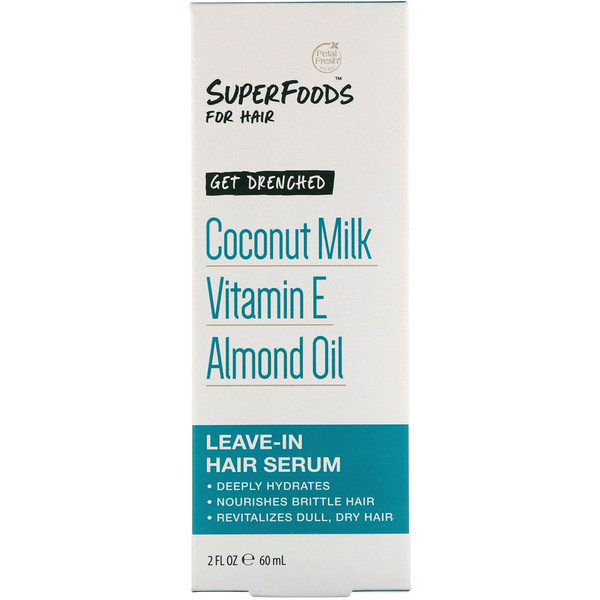 Petal Fresh, Pure, SuperFoods for Hair, Get Drenched Leave-In Hair Serum, Coconut Milk, Vitamin E & Almond Oil, 2 fl oz (60 ml) (Discontinued Item)