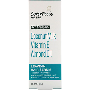 Пэтал Фрэш, Pure, SuperFoods for Hair, Get Drenched Leave-In Hair Serum, Coconut Milk, Vitamin E & Almond Oil, 2 fl oz (60 ml) отзывы покупателей