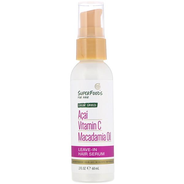 Pure, SuperFoods for Hair, Color Shield Leave-In Hair Serum, Acai, Vitamin C & Macadamia Oil, 2 fl oz (60 ml)