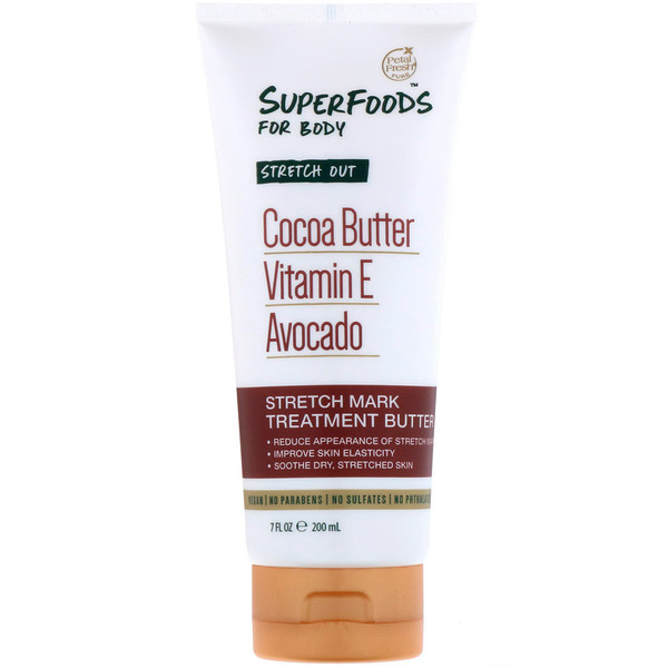 Pure, SuperFoods For Body, Stretch Out Stretch Mark Treatment Butter, Cocoa Butter, Vitamin E & Avocado, 7 fl oz (200 ml)