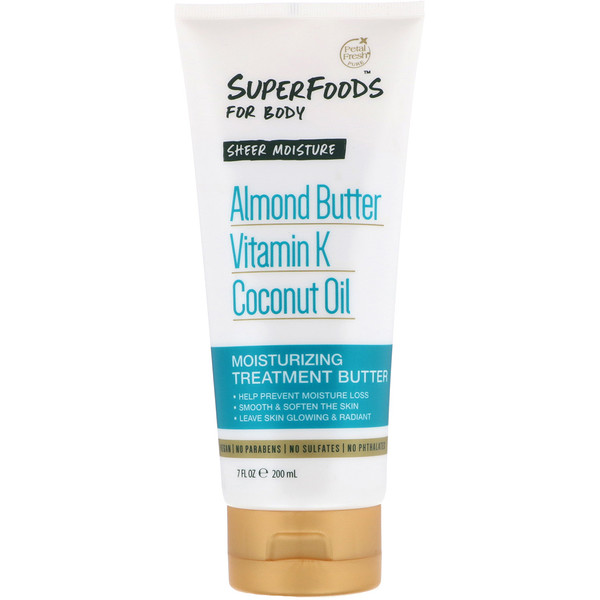 Pure, SuperFoods For Body, Sheer Moisture Moisturizing Treatment Butter, Almond Butter, Vitamin K & Coconut Oil, 7 fl oz (200 ml)