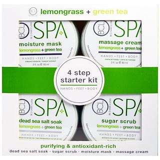 Petal Fresh, سبا، مجموعة أدوات البدء من 4 خطوات، منقي وغني بمضادات التأكسد، عشبة الليمون + الشاي الأخضر، 4 - 3 أونصة سائلة (85 مل) لكل