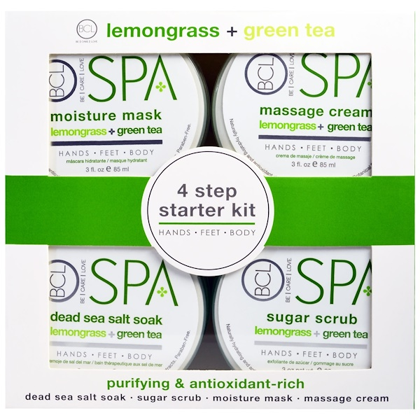 Petal Fresh, Spa, 4 Step Starter Kit, Purifying and Antioxidant Rich, Lemongrass + Green Tea, 4 - 3 fl oz (85 ml) Each