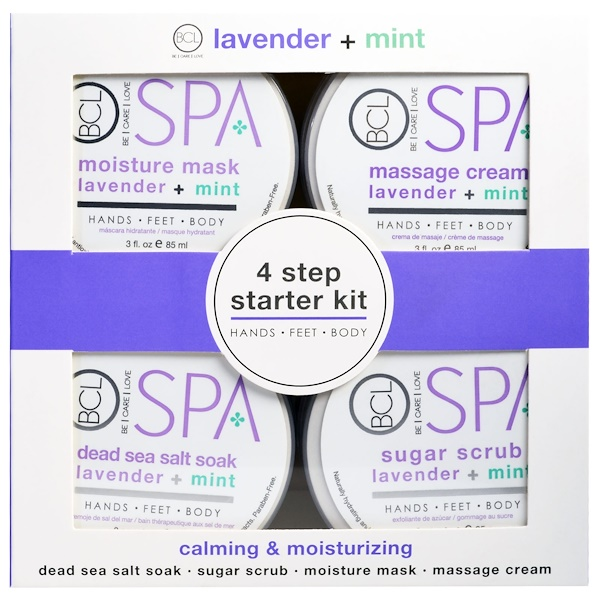 Spa, 4 Step Starter Kit, Calming & Moisturizing, Lavender + Mint, 4 - 3 fl oz (85 ml) Each