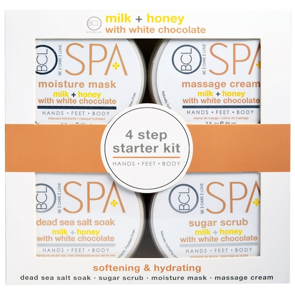 Spa, 4 Step Starter Kit, Softening & Hydrating, Milk + Honey with White Chocolate, 4 - 3 fl oz (85 ml) Each