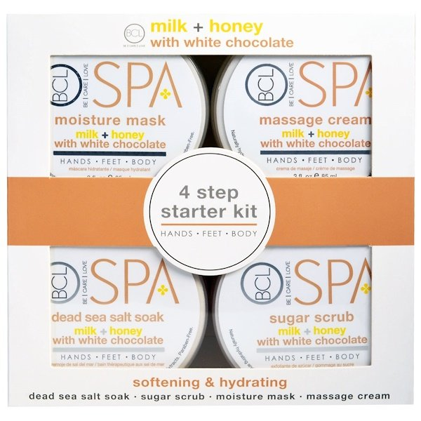 Petal Fresh, Spa, 4 Step Starter Kit, Softening & Hydrating, Milk + Honey with White Chocolate, 4 - 3 fl oz (85 ml) Each