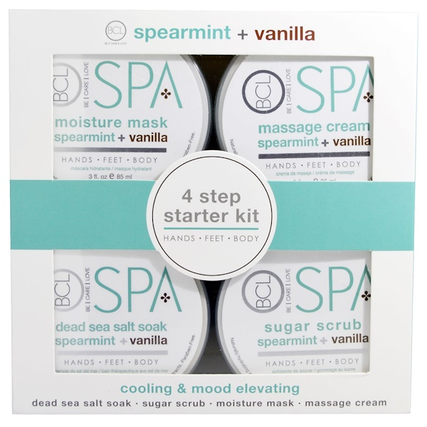 Petal Fresh, BCL Spa, Hands, Feet and Body, Cooling & Mood Elevating, Spearmint plus Vanilla, 4 Piece Kit - 3 fl oz (85 ml) Each (Discontinued Item)