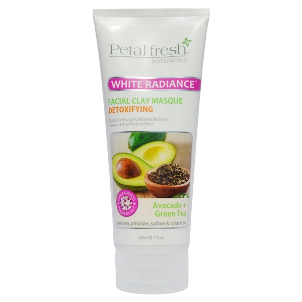 Petal Fresh, Botanicals, White Radiance Facial Clay Masque, Avocado + Green Tea, 7 fl oz (200 ml) (Discontinued Item)