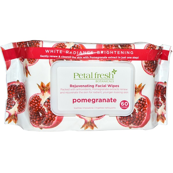 Petal Fresh, Botanicals, Rejuvenating Facial Wipes, Pomegranate, 60 Wipes (Discontinued Item)