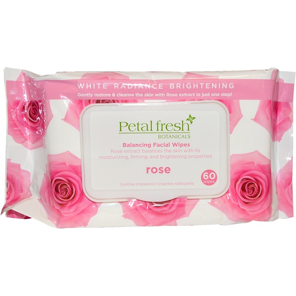 Petal Fresh, Botanicals, Balancing Facial Wipes, Rose, 60 Wipes (Discontinued Item)