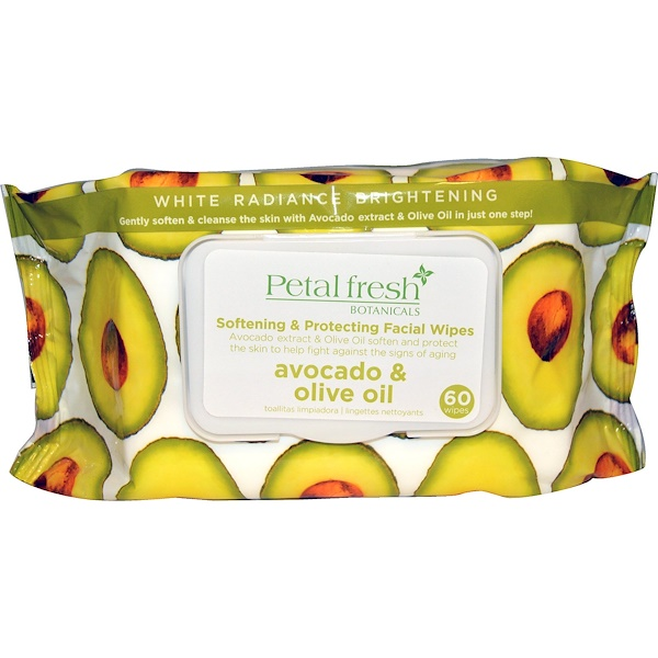 Petal Fresh, Botanicals, Смягчающие & защитные салфетки для лица, Авокадо & оливковое масло, 60 салфеток (Discontinued Item)