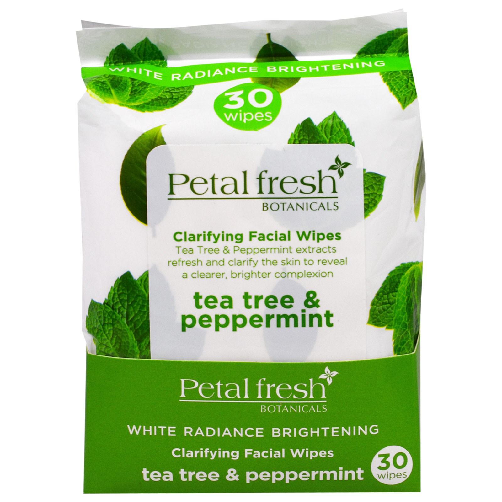 Petal Fresh, Очищающие Салфетки для лица, Чайное Дерево и Мята Перечная, 30 Влажных Салфеток