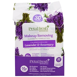 Petal Fresh, Botanicals, Calming & Healing Wipes, Lavender & Rosemary, 30 Wipes