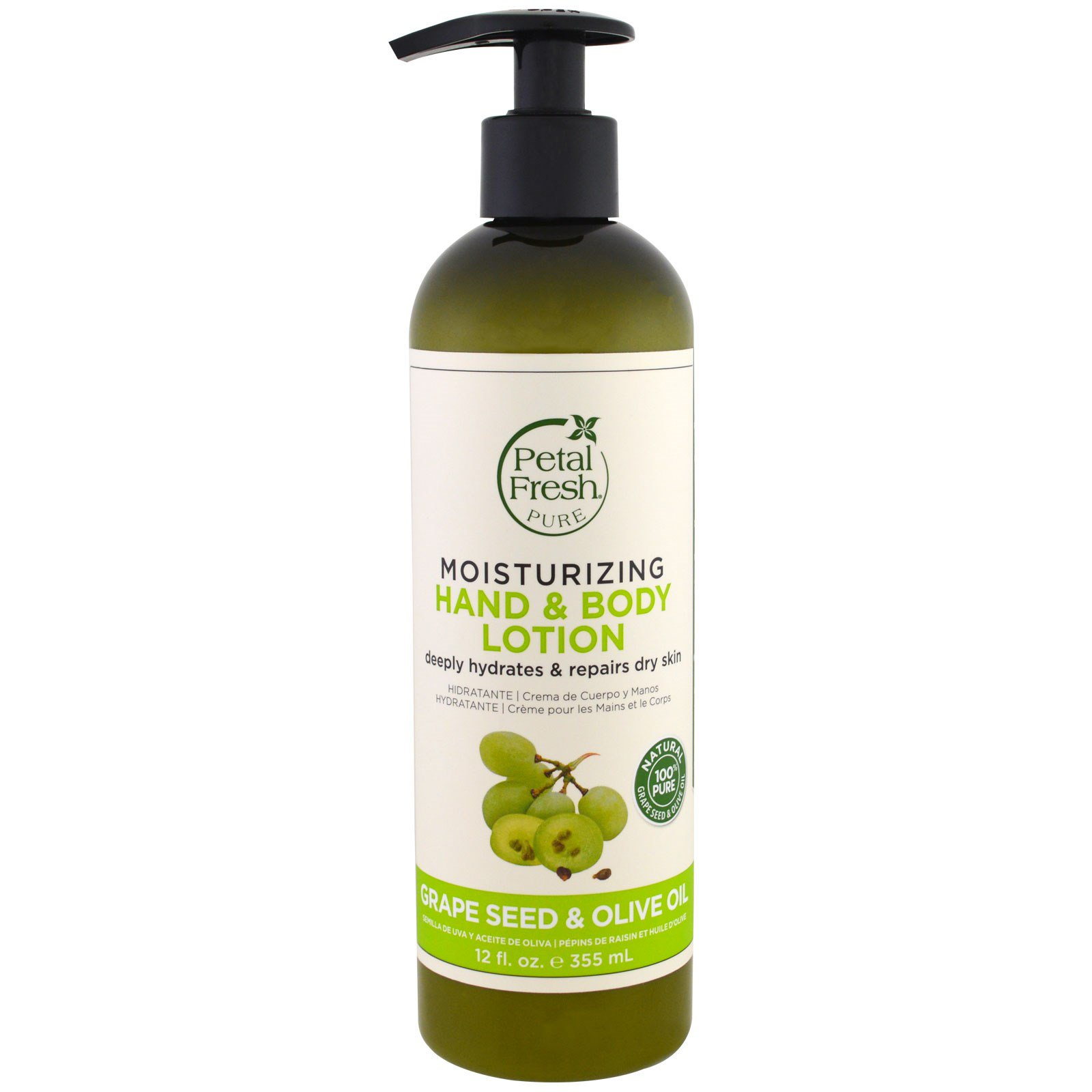 Petal Fresh, Pure, Moisturizing Hand & Body Lotion, Grape Seed  & Olive Oil, 12 fl oz (355 ml)