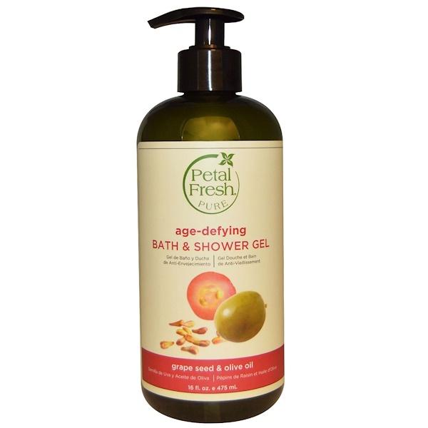 Petal Fresh, Pure, Moisturizing Bath & Shower Gel, Grape Seed & Olive Oil, 16 fl oz (475 ml)