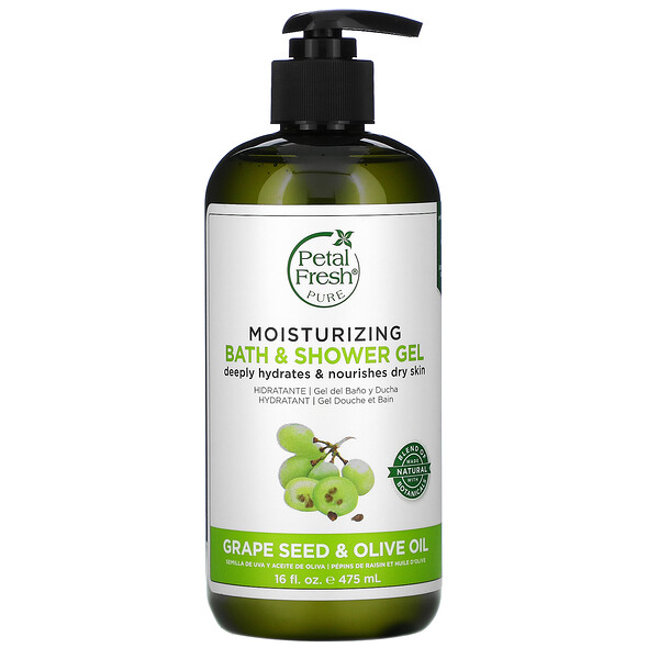 Pure, Moisturizing Bath & Shower Gel, Grape Seed & Olive Oil, 16 fl oz (475 ml)
