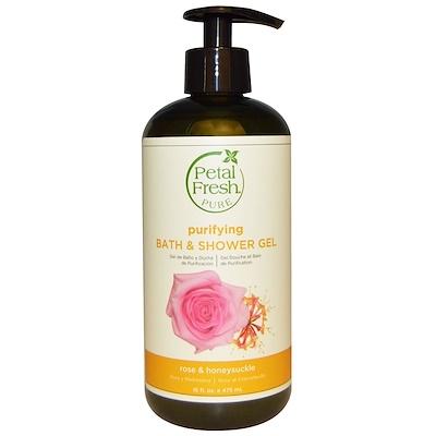 Купить Petal Fresh Pure, очищающий гель для душа, роза и жимолость, 16 жидких унций (475 мл)