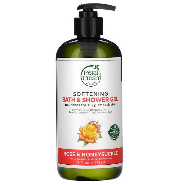 Softening Bath & Shower Gel, Rose & Honeysuckle, 16 fl oz (475 ml)