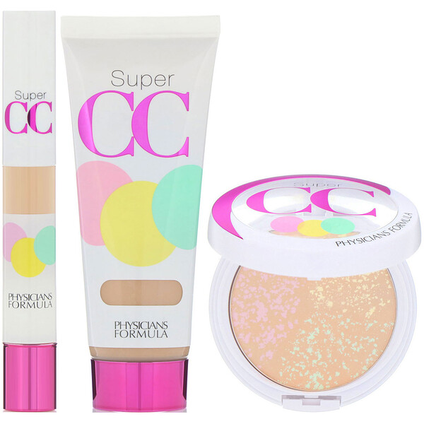 Physicians Formula, Complete Correction, Super CC Color-Correction + Care Makeup, SPF 30, Light-Medium Kit, 3 Piece Kit (Discontinued Item)
